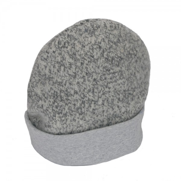Haube HERATEX Schafwolle mit Baumwollfütterung grau meliert